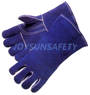 WCBB03 blue welding leather gloves reinforced palm